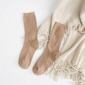 リブソックス レディース ミドル丈 靴下 無地 綿混 ソックス 通学 薄手 カラバリ 靴下 (キャメル)