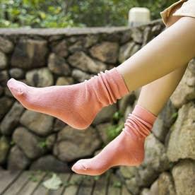 リブソックス レディース ミドル丈 靴下 無地 綿混 ソックス 通学 薄手 カラバリ 靴下 (ピンク)
