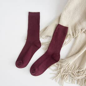 リブソックス レディース ミドル丈 靴下 無地 綿混 ソックス 通学 薄手 カラバリ 靴下 (ワインレッド)