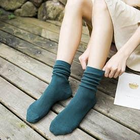 リブソックス レディース ミドル丈 靴下 無地 綿混 ソックス 通学 薄手 カラバリ 靴下 (ディープグリーン)
