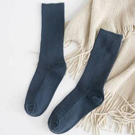 リブソックス レディース ミドル丈 靴下 無地 綿混 ソックス 通学 薄手 カラバリ 靴下 (デニムブルー)