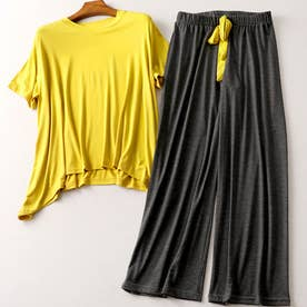 ルームウェア 上下セット レディース パジャマ 2点セット 半袖 部屋着セット ゆったり セットアップ 春夏 リラックスウェア (イエロー*ダークグレー)
