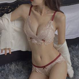 ブラジャーショーツセットノンワイヤー下着 【返品不可商品】(ピンク)
