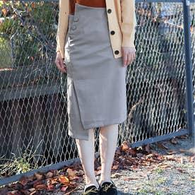 大きいサイズ レディース 不規則 スカート ハイウエスト Aラインスカート ゆったり ベーシックスカート 通勤 無地 ボトムス (グレー)