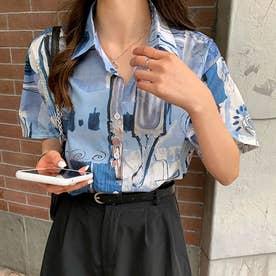 柄シャツ半袖レディース スキッパーシャツ (ブルー)
