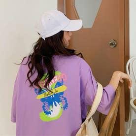 Tシャツ レディース 韓国 ロゴ 半袖 (パープル)