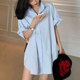 シャツワンピース レディース 韓国羽織 (薄ブルー)
