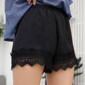 ペチコート パンツ 裾レースペチパンツ (ブラック)