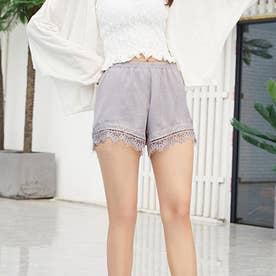 ペチコート パンツ 裾レースペチパンツ (ライトグレー)