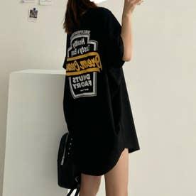 チュニックロンT 半袖 ロングtシャツ (ブラック)