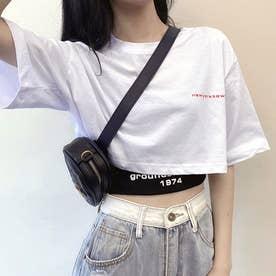 ヘソ出しTシャツ タンクトップ 韓国 (ホワイト+ブラック)