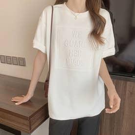 立体ロゴ tシャツ 半袖チュニックロンT (ホワイト)