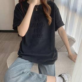 立体ロゴ tシャツ 半袖チュニックロンT (ブラック)