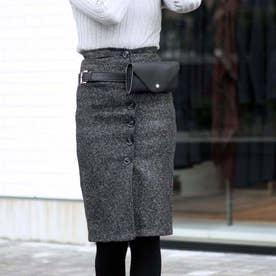 レディース タイトスカート ひざ丈 ハイウエスト 秋冬 ツイード スカート ミモレ丈 (ブラック)