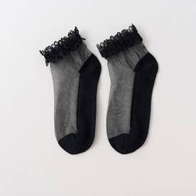 アンクレット 靴下 フリル スニーカーソックス アンクルソックス シースルー ソックス レディース かわいい ソックス くるぶし (ブラック)