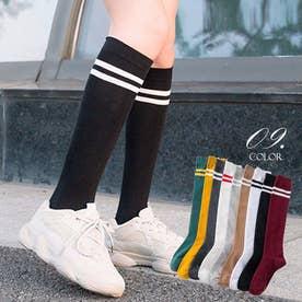 ハイソックス レディース 2本ライン 靴下 綿 ボーダー ロングソックス 通学 靴下 無地 (ブラック)