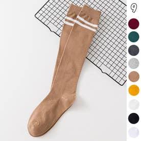 ハイソックス レディース 2本ライン 靴下 綿 ボーダー ロングソックス 通学 靴下 無地 (キャメル)