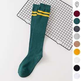 ハイソックス レディース 2本ライン 靴下 綿 ボーダー ロングソックス 通学 靴下 無地 (ディープグリーン)