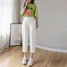 アンクルパンツ レディース ストレートパンツ 着やせ カジュアル 韓国ファッション きれいめ テーパードパンツ 細見え (ホワイト)