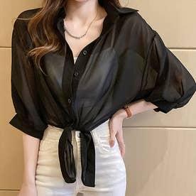 裾リボン結び シャツブラウス 韓国風 (ブラック)