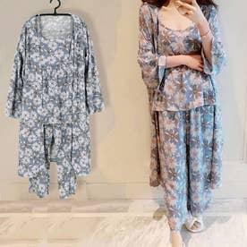 ルームウェア 3点セット レディース 花柄 パジャマ カーディガン ナイトウェア パンツ 部屋着 長袖 (ブルー)
