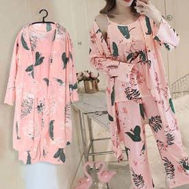 ルームウェア 3点セット レディース 花柄 パジャマ カーディガン ナイトウェア パンツ 部屋着 長袖 (ピンク)