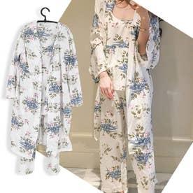 ルームウェア 3点セット レディース 花柄 パジャマ カーディガン ナイトウェア パンツ 部屋着 長袖 (ホワイト)