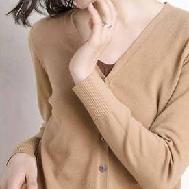 ニット カーディガン レディース 前開き セーター 無地 長袖 羽織 ボタン付き 薄手カーデ (キャメル)