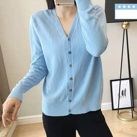 ニット カーディガン レディース 前開き セーター 無地 長袖 羽織 ボタン付き 薄手カーデ (薄ブルー)