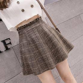 グレンチェックスカート レディース ボトムス フレアスカート Aライン ミニスカート 秋冬 skirt (ブラウン)