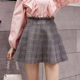 グレンチェックスカート レディース ボトムス フレアスカート Aライン ミニスカート 秋冬 skirt (グレー)