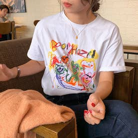 落書きプリント tシャツ 半袖夏Tシャツ (ホワイト)