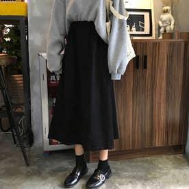 Aライン ロングスカート フレアスカート黒 (ブラック)