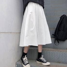 Aライン ロングスカート フレアスカート黒 (ホワイト)