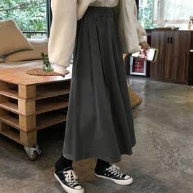 Aライン ロングスカート フレアスカート黒 (ダークグレー)