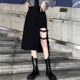 スカート 原宿系ダンス衣装 カレッジ風 (ブラック)
