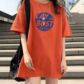 チュニック丈ロンT 半袖 tシャツ (オレンジ)