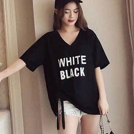 ロゴプリントTシャツ 半袖トップス 夏 (ブラック)