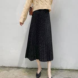 プリーツスカート レディース ウエストゴム ミディアム丈スカート ラメ入り aラインスカート (ブラック)