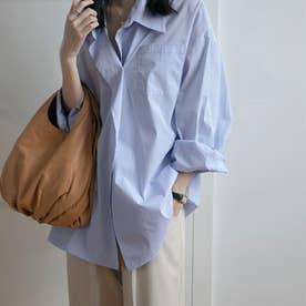 ストライプ柄 シャツ 長袖 ロングシャツ (ブルー)