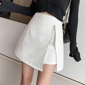 キュロットスカート レディース スカート風 ショーパン ハイウエスト ボトムス 台形スカート 大人可愛い 無地 (ホワイト)