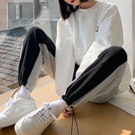 韓国ファッション スウェット パンツ 秋 (ブラック*グレー)