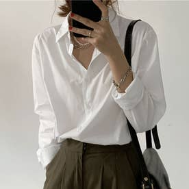 シャツブラウス 襟付き 長袖 レディース (ホワイト)