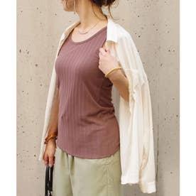 ランダムリブ裾メロウタンクトップul (モカ(05))