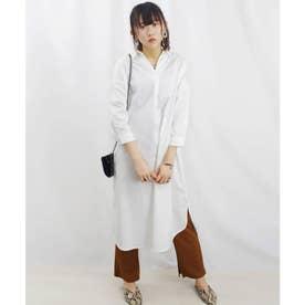タイプライタースキッパー裾ラウンドワンピース (ホワイト(01))