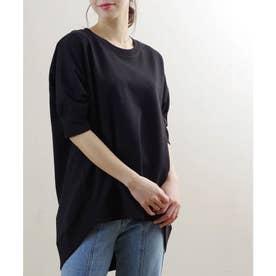ミニ裏毛5分袖ドルマンプルオーバー ルームウェア (ブラック(02)(21174002))