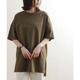 シームデザインビッグシルエットコットンTシャツ ルームウエア (カーキ(09)(21199012))