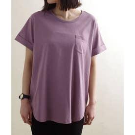 ポケット付き裾ラウンドTシャツ ルームウェア (パープル(23)(21199002))