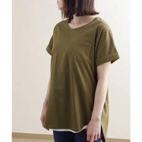 ポケット付き裾ラウンドTシャツ ルームウェア (カーキ(09)(21199002))