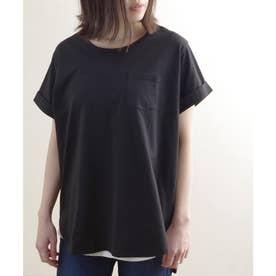 ポケット付き裾ラウンドTシャツ ルームウェア (ブラック(02)(21199002))